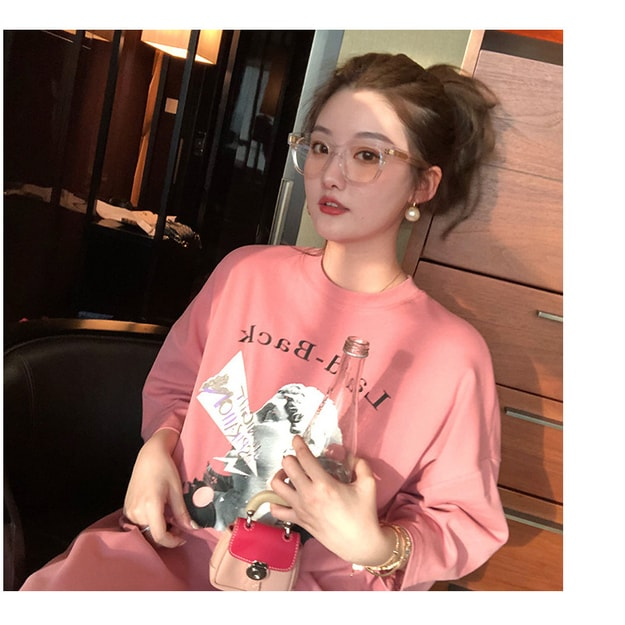 Product Detail - PRINSTORY 2019 Spring/Summer Printed T-shirt Dress/Pink/S - image 0