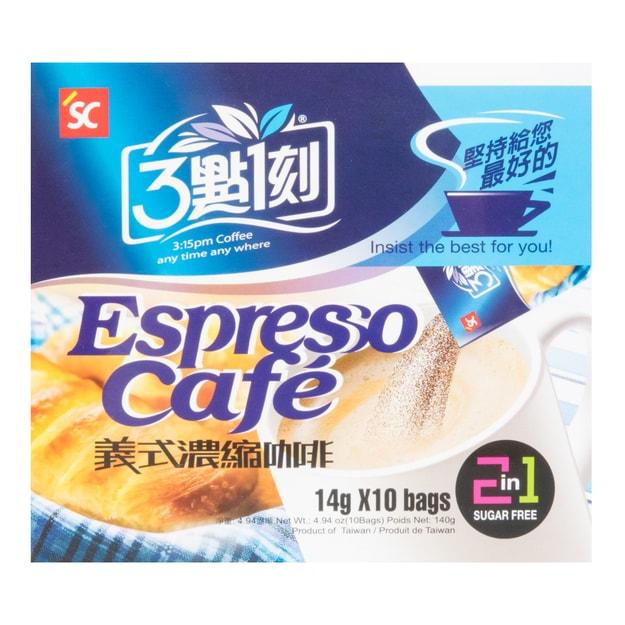 商品详情 - 台湾三点一刻 二合一意式浓缩无糖速溶咖啡 10包入 140g - image  0