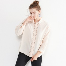 CARRIE&KATE Designer Style 2019 Spring and Summer New Korean edition long-sleeved women's detail shirt Khaki/S
