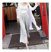 MAGZERO [Special Offer] Elastic Waistband Soft Wide Pants #Grey One Size(Free)