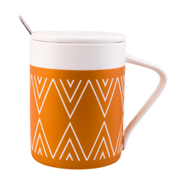 KINGBIRD Indian Stripes Ceramic Coffee Tea Mug Cup with Lid and Spoon #Orange