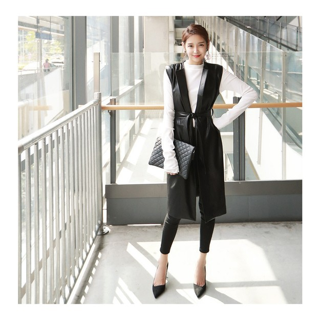 Product Detail - KOREA MAGZERO Collarless Faux Leather Vest Jacket with Belt Black One Size(S-M) [Free Shipping] - image 0