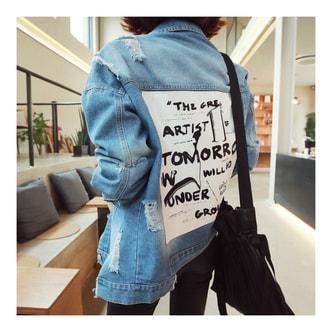 [韩国正品] MAGZERO Tomorrow Patch Distressed Denim Jacket #Blue One Size(S-M) [免费配送]