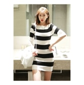 KOREA MAGZERO Boat-Neck Bell Sleeve Dress #Ivory One Size(S-M) [Free Shipping]