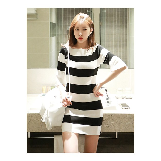Product Detail - KOREA MAGZERO Boat-Neck Bell Sleeve Dress #Ivory One Size(S-M) [Free Shipping] - image 0