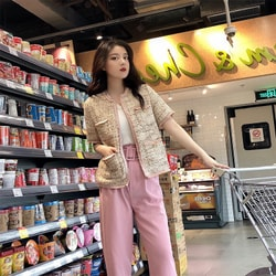 PRINSTORY 2019 Spring/Summer Tweed Short Sleeve Coat S