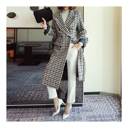 MAGZERO Double-Breasted Houndstooth Wool-Blend Long Coat #Ivory&Black One Size(S-M) [Free Shipping]