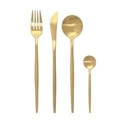 CONCORD 16 Piece Stainless Steel Boutique Flatware gift Set. SERVICE FOR 4 (Matte Gold)