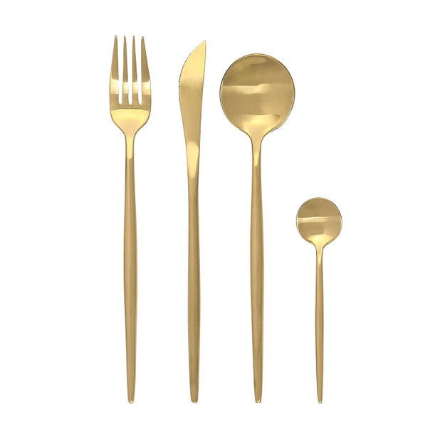 商品详情 - CONCORD葡式304不锈钢创意刀叉餐具 单人礼品组 (哑光金) - image  0