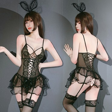Sexy lingerie in lace and thin waistcoat passion seduction suit super flirty bed 7747 in black