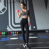 暴走的萝莉 春季修身翘臀长裤 高弹速干透气运动瑜伽跑步健身裤女/迷情黑#/M