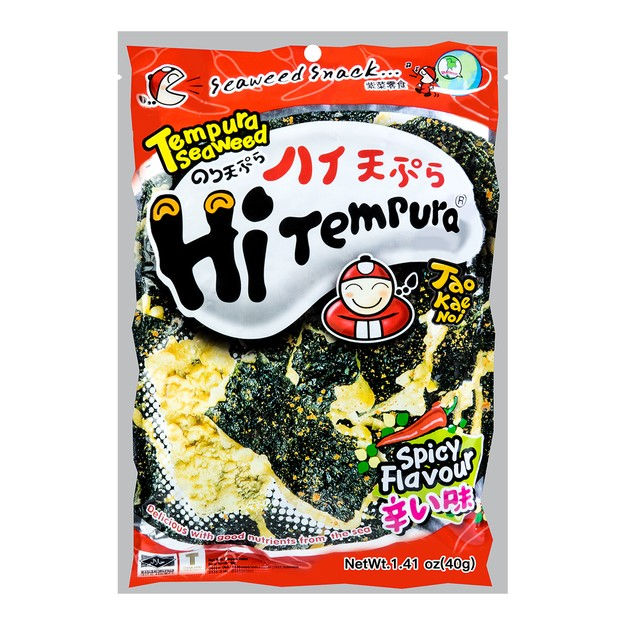 Product Detail - TAO KAE NOI Super Crispy Grilled Seaweed -Hot Tempura Flavor 40g - image 0