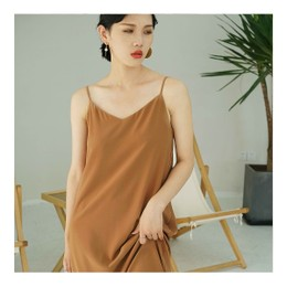 NICHE MARKET Elegant V Line Slip Dress BROWN ONE SIZE