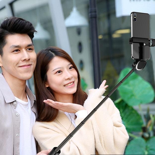 商品详情 - 中国直邮多功能无线蓝牙手机自拍杆一体式隐藏式三脚架伸缩自拍架 黑色1件 - image  0