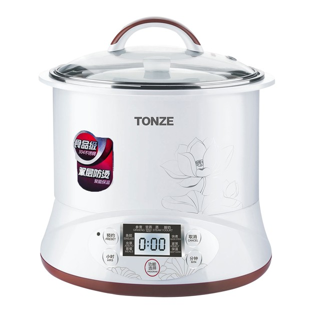 Product Detail - TONZE TIANJI Multi Function Stainless Steel Inner Pot Electric Stewpot Slow Cooker  2.2L DGD22-22EG - image 0
