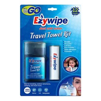 EZYWIPE Travel Towel Kit Plus Tube 12 Towels Size S