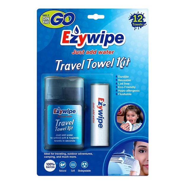 【Clearance】EZYWIPE Travel Towel Kit Plus Tube 12 Towels Size S