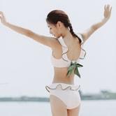 暴走的萝莉 分体式泳装两件套装女秋季可调节速干透气甜美蝴蝶结/粉色#/M