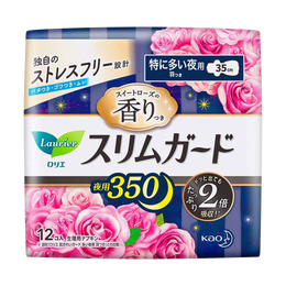 KAO LAURIER Slim Guard Rose Heavy Night Sanitary Pads with Wings 35cm 12 Pads