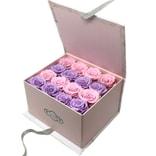 BLOSSOMING LOVE 粉色大理石纹翻盖大方盒 粉紫拼色永生花