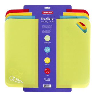 NEOFLAM Flexible Cutting Mats with Non-Slip Grip Set of 4 Multicolor 15 x 12 inches