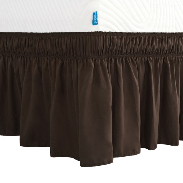 Product Detail - SUBRTEX Wrap Around Bed Skirt Elastic Elegant Soft Fabric Ruffled Fade Resistant Replaceable (Full Chocolate) - image 0
