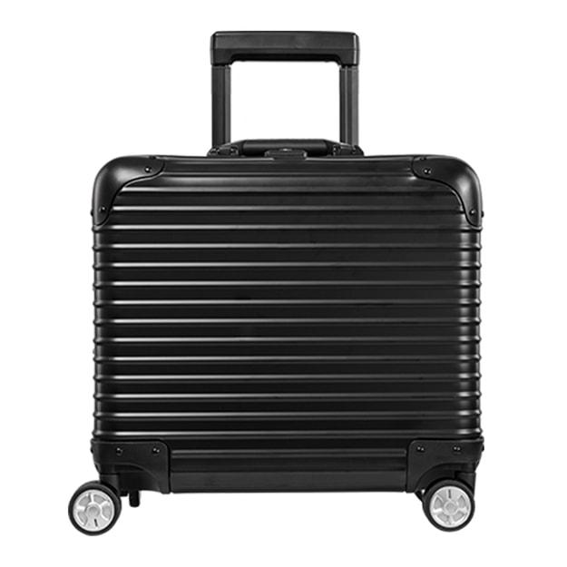 商品详情 - 苏宁极物 全铝镁合金金属万向轮拉杆箱 17寸 黑色 - image  0