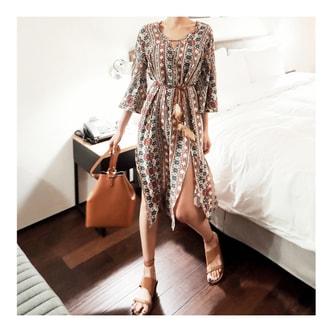 韩国正品 [免费配送] MAGZERO V领波西米亚风中长裙配腰带 #米黄色 均码(S-M)
