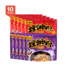 LIUQUAN Instant Spicy Noodle 10 Packs Bundle Sour and Spicy X5 + Original Flavor X5