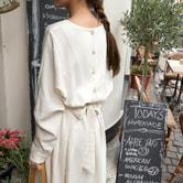【现货】【韩国直邮】CHERRYKOKO 圆领百褶连衣裙 奶油色 均码