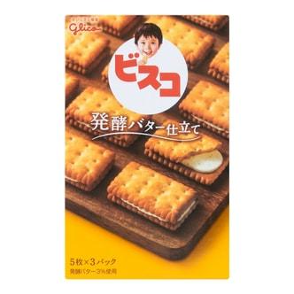 日本GLICO格力高 发酵黄油香草夹心饼干 含乳酸菌 15枚入 60g