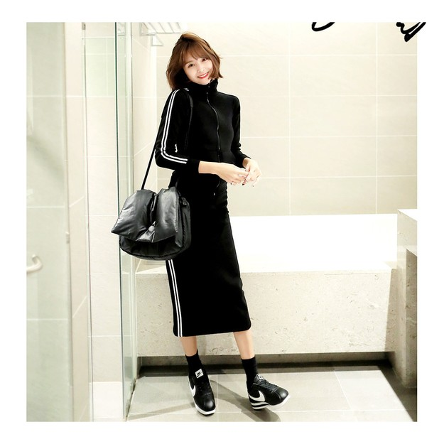 Product Detail - KOREA MAGZERO Side Stripes Track Jacket+Skirt 2 Pieces Set Black One Size(S-M) [Free Shipping] - image 0