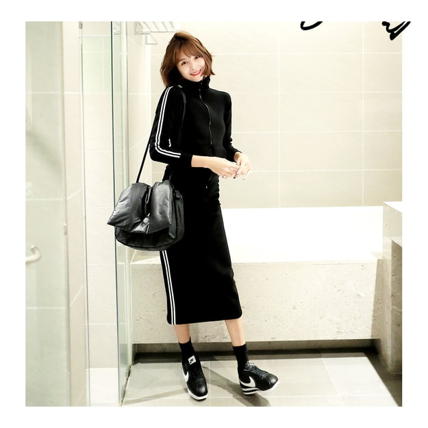 KOREA MAGZERO Side Stripes Track Jacket+Skirt 2 Pieces Set Black One Size(S-M) [Free Shipping]