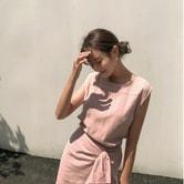 【韩国直邮】CHERRYKOKO 亚麻裹身设计连衣裙 粉色 均码