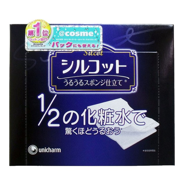 Product Detail - UNICHARM Silcot Uruuru Sponge Facial Cotton 40 Pieces - image 0