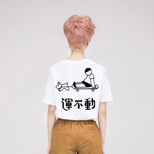 商品详情 - PROD 运动不运动-滑板 宽松短袖T恤纯棉半袖初秋上衣白色-XS号 - image  0