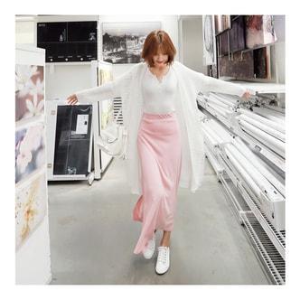 韩国MAGZERO 夏季新款后开叉半身长裙 粉色 均码One Size