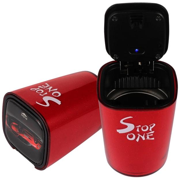 商品详情 - STOP ONE CA-521 带盖和LED的便携式汽车烟灰缸 ABS和铝合金阻燃制成可拆卸耐高温适用于汽车室内或室外红色 - image  0