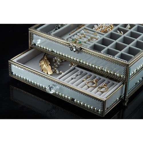 PuTwo Jewelry Boxes 22 Sections Metal Glass Jewelry Organizer Velvet