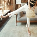 WINGS Mid High-Rise Front-Slit Crop Flare Jeans #White S(25-26)