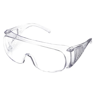 JULONG Clear Lenses Frameless Safety Glasses Uncoated Lenses Clear Plastic Frame Size Universal Over the Glasses