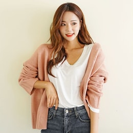 SSUMPARTY Cropped Open Cardigan #Pink One Size(S-M)