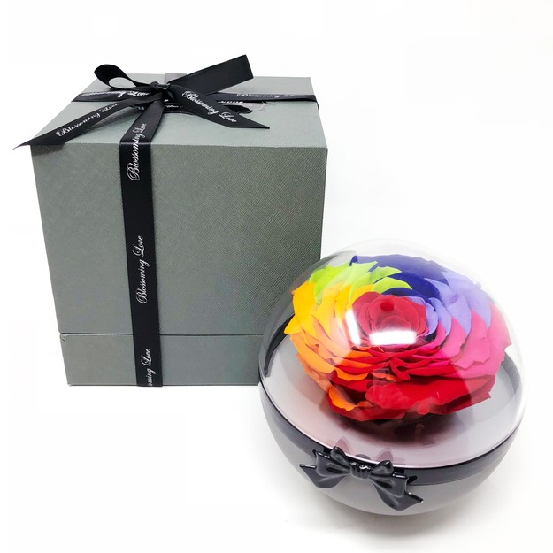 Product Detail - BLOSSOMING LOVE SEE-THROUGH FLOWER BALL RAINBOW ROSE - image 0