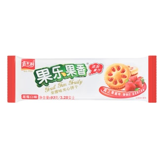 JIASHILI Fruit Fun Fruily Sandwich Biscuits Strawberry Flavor 93g
