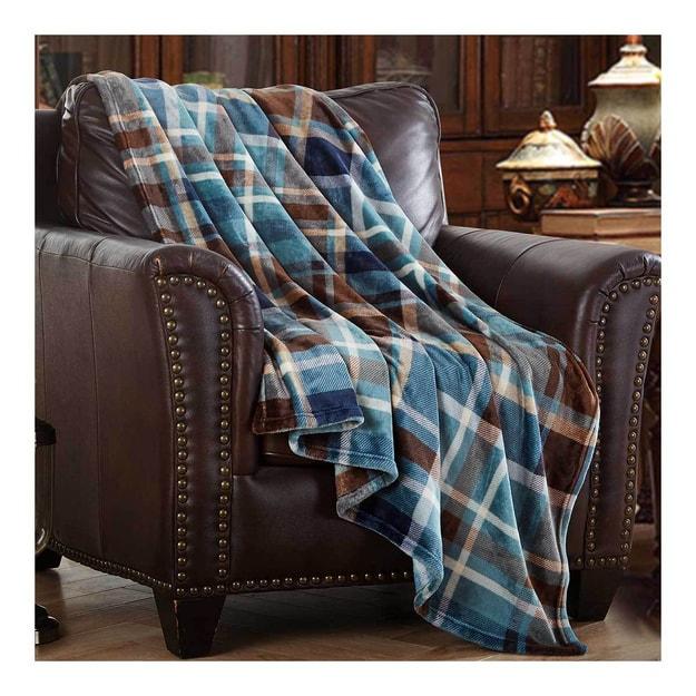 商品详情 - MERRYLIFE单层毛毯 柔软保暖摇粒绒  蓝格子  60\'\' 90\'\' 四季通用 - image  0
