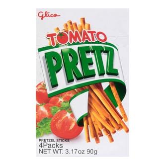 日本GLICO格力高 PRETZ百力滋 焙香超细饼干棒 番茄味 4包入 90g