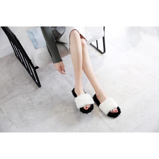 商品详情 - Premium Down 春夏新品大蓬松圈圈毛百搭三色拖鞋 防滑耐磨可外穿 黑+白 38-39 - image  0