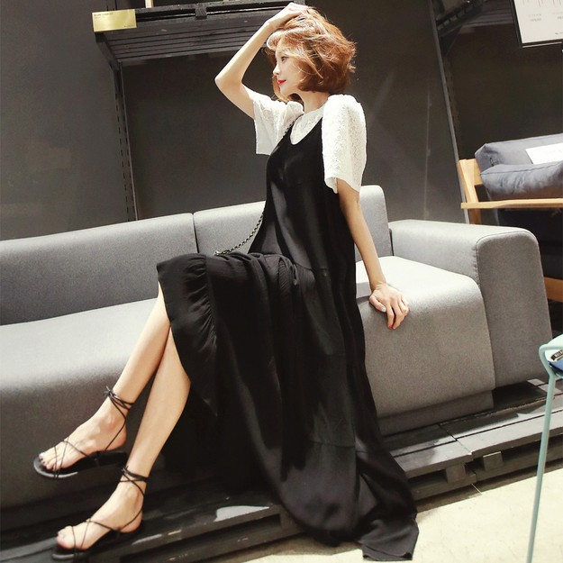 Product Detail - WINGS Tiered Maxi Dress #Black One Size(Free) - image 0