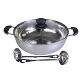 HANNEX Induction Ready High Quality Stainless Steel Dual Hot Pot 28cm