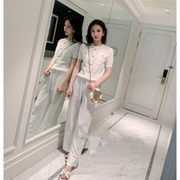 PRINSTORY 2019 Spring/Summer Gold Button Knitting Set White/S